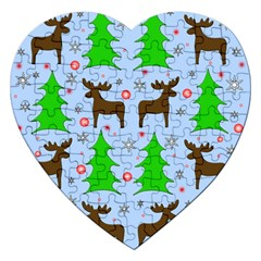 Reindeer And Xmas Trees  Jigsaw Puzzle (heart) by Valentinaart