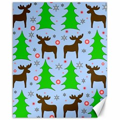 Reindeer And Xmas Trees  Canvas 16  X 20   by Valentinaart