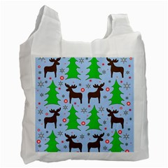Reindeer And Xmas Trees  Recycle Bag (one Side) by Valentinaart