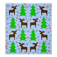 Reindeer And Xmas Trees  Shower Curtain 66  X 72  (large)  by Valentinaart
