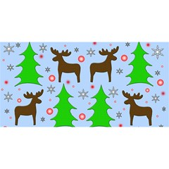 Reindeer And Xmas Trees  You Are Invited 3d Greeting Card (8x4)