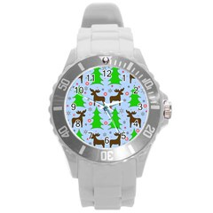 Reindeer And Xmas Trees  Round Plastic Sport Watch (l) by Valentinaart