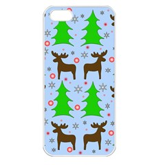 Reindeer And Xmas Trees  Apple Iphone 5 Seamless Case (white) by Valentinaart