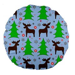 Reindeer And Xmas Trees  Large 18  Premium Round Cushions by Valentinaart
