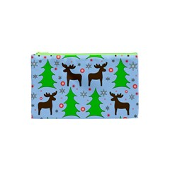 Reindeer And Xmas Trees  Cosmetic Bag (xs) by Valentinaart