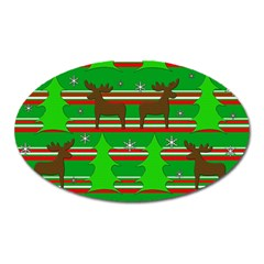 Christmas Trees And Reindeer Pattern Oval Magnet by Valentinaart