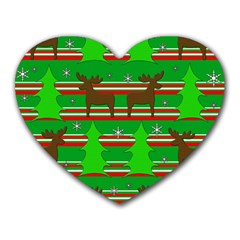 Christmas Trees And Reindeer Pattern Heart Mousepads by Valentinaart