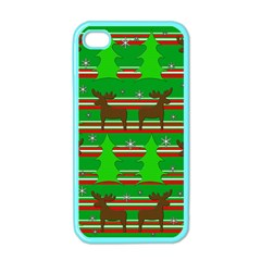 Christmas Trees And Reindeer Pattern Apple Iphone 4 Case (color) by Valentinaart