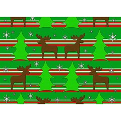 Christmas Trees And Reindeer Pattern Birthday Cake 3d Greeting Card (7x5)