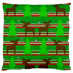 Christmas Trees And Reindeer Pattern Large Cushion Case (one Side) by Valentinaart