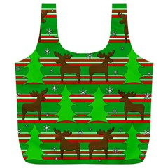 Christmas Trees And Reindeer Pattern Full Print Recycle Bags (l)  by Valentinaart