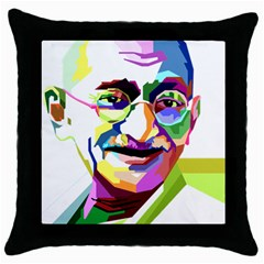 Ghandi Throw Pillow Case (black) by bhazkaragriz