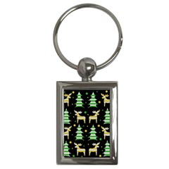 Decorative Xmas Reindeer Pattern Key Chains (rectangle)  by Valentinaart
