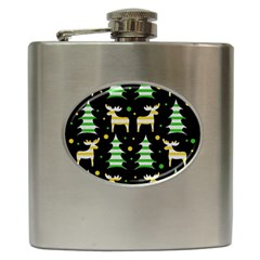 Decorative Xmas Reindeer Pattern Hip Flask (6 Oz) by Valentinaart