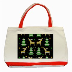 Decorative Xmas Reindeer Pattern Classic Tote Bag (red) by Valentinaart
