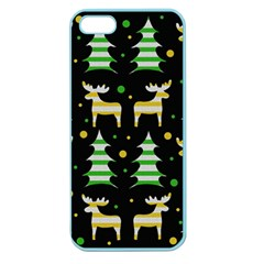 Decorative Xmas Reindeer Pattern Apple Seamless Iphone 5 Case (color) by Valentinaart