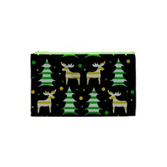 Decorative Xmas Reindeer Pattern Cosmetic Bag (xs) by Valentinaart