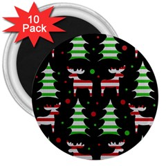 Reindeer Decorative Pattern 3  Magnets (10 Pack)