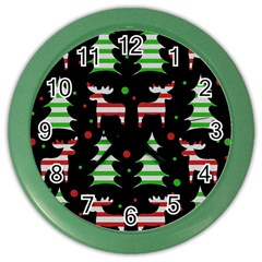 Reindeer Decorative Pattern Color Wall Clocks by Valentinaart