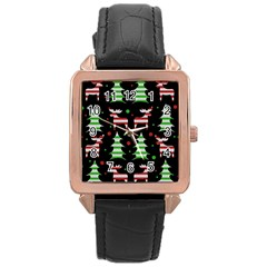 Reindeer Decorative Pattern Rose Gold Leather Watch  by Valentinaart