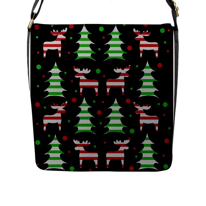 Reindeer decorative pattern Flap Messenger Bag (L)