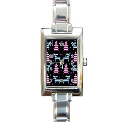 Blue And Pink Reindeer Pattern Rectangle Italian Charm Watch by Valentinaart