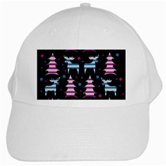 Blue And Pink Reindeer Pattern White Cap by Valentinaart