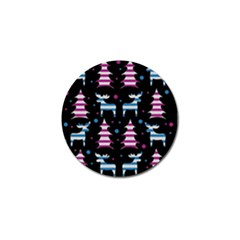 Blue And Pink Reindeer Pattern Golf Ball Marker