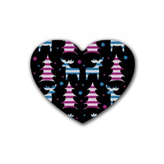 Blue And Pink Reindeer Pattern Rubber Coaster (heart)  by Valentinaart