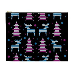 Blue And Pink Reindeer Pattern Cosmetic Bag (xl)