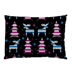 Blue And Pink Reindeer Pattern Pillow Case (two Sides) by Valentinaart