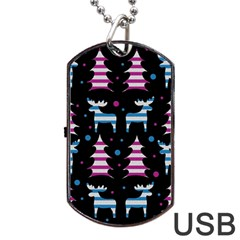 Blue And Pink Reindeer Pattern Dog Tag Usb Flash (one Side) by Valentinaart