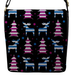 Blue And Pink Reindeer Pattern Flap Messenger Bag (s) by Valentinaart