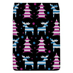 Blue And Pink Reindeer Pattern Flap Covers (s)  by Valentinaart