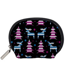 Blue And Pink Reindeer Pattern Accessory Pouches (small)