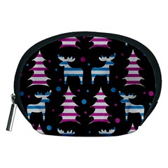 Blue And Pink Reindeer Pattern Accessory Pouches (medium)  by Valentinaart