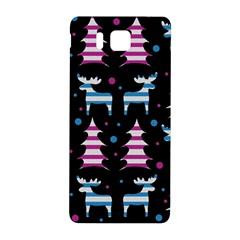 Blue And Pink Reindeer Pattern Samsung Galaxy Alpha Hardshell Back Case by Valentinaart