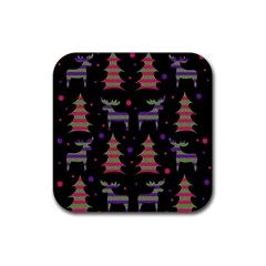 Reindeer Magical Pattern Rubber Square Coaster (4 Pack)  by Valentinaart