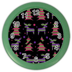 Reindeer Magical Pattern Color Wall Clocks by Valentinaart