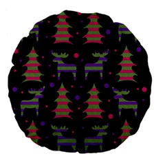 Reindeer Magical Pattern Large 18  Premium Flano Round Cushions