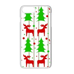 Reindeer Elegant Pattern Apple Iphone 7 Plus White Seamless Case by Valentinaart