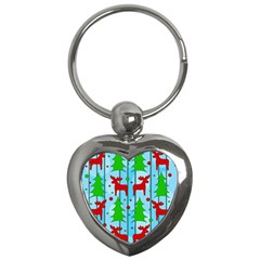 Xmas Reindeer Pattern   Blue Key Chains (heart)  by Valentinaart