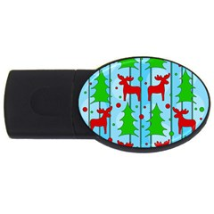 Xmas Reindeer Pattern   Blue Usb Flash Drive Oval (4 Gb)