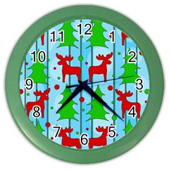 Xmas Reindeer Pattern   Blue Color Wall Clocks by Valentinaart