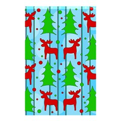 Xmas Reindeer Pattern   Blue Shower Curtain 48  X 72  (small)  by Valentinaart