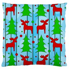 Xmas Reindeer Pattern   Blue Large Cushion Case (one Side) by Valentinaart
