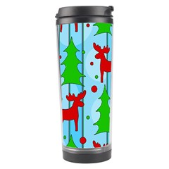 Xmas Reindeer Pattern   Blue Travel Tumbler by Valentinaart