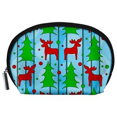 Xmas Reindeer Pattern   Blue Accessory Pouches (large)  by Valentinaart
