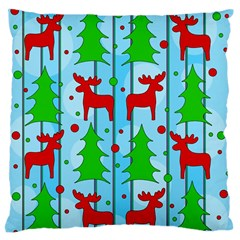 Xmas Reindeer Pattern   Blue Large Flano Cushion Case (one Side) by Valentinaart