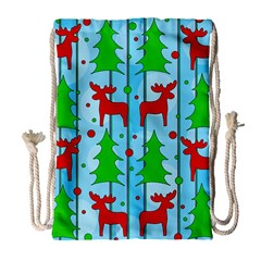 Xmas Reindeer Pattern   Blue Drawstring Bag (large) by Valentinaart